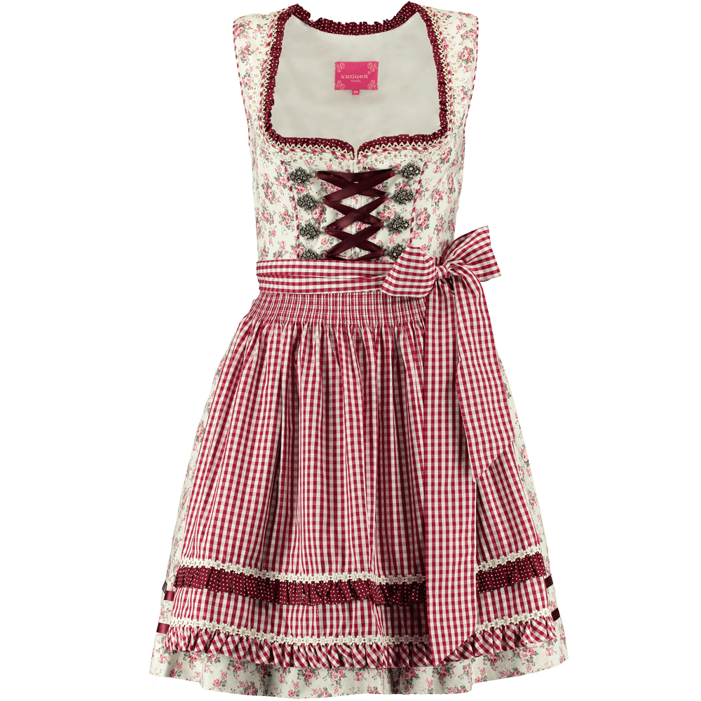 kr ger dirndl scattered blooms 50 er weiss rot g nstig. Black Bedroom Furniture Sets. Home Design Ideas