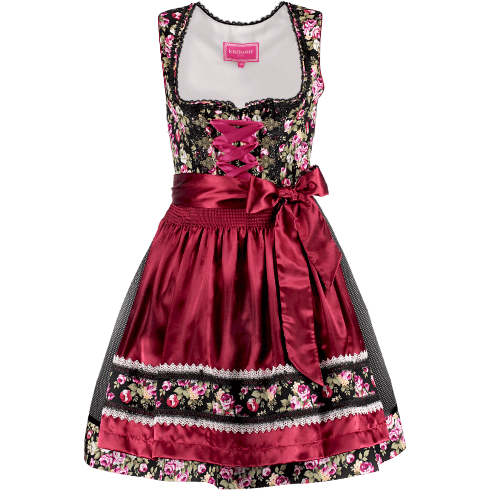 kr ger dirndl black roses mini dirndl 50er g nstig kaufen. Black Bedroom Furniture Sets. Home Design Ideas