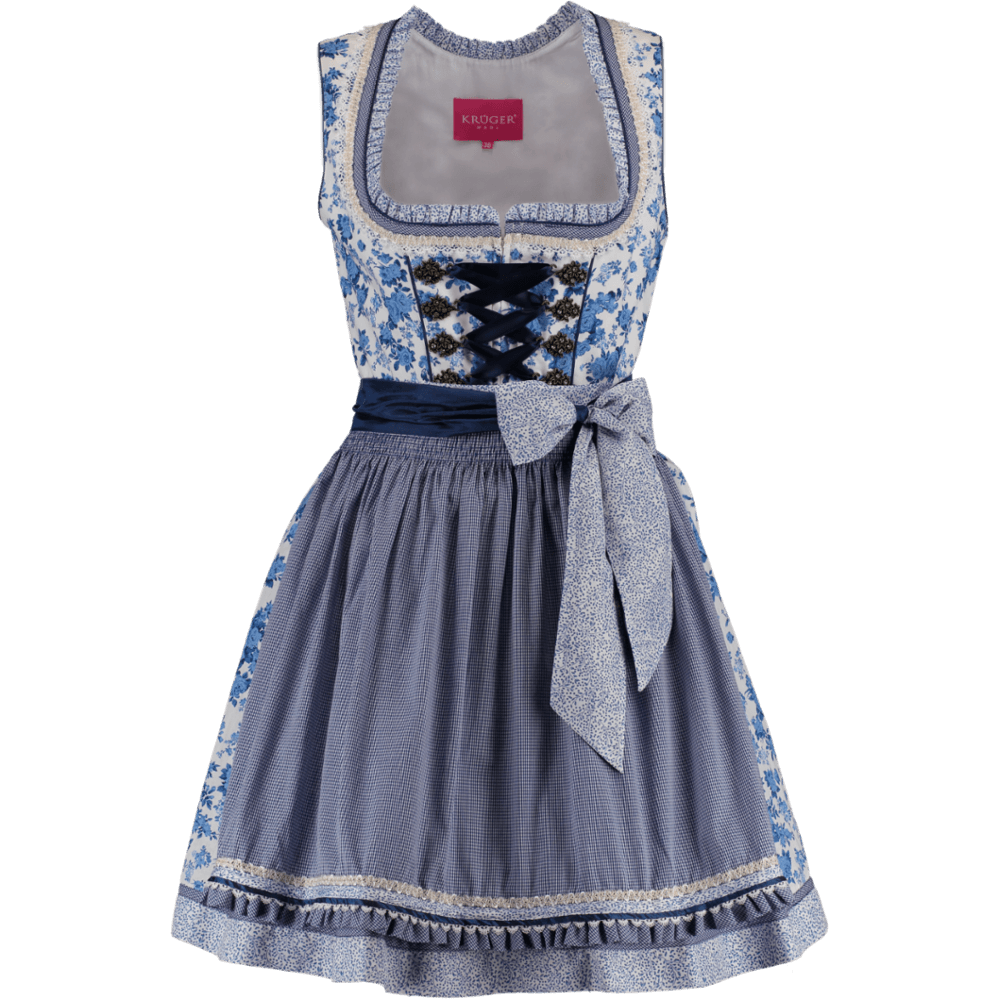 kr ger mini dirndl teatime blau weiss 50er g nstig kaufen. Black Bedroom Furniture Sets. Home Design Ideas