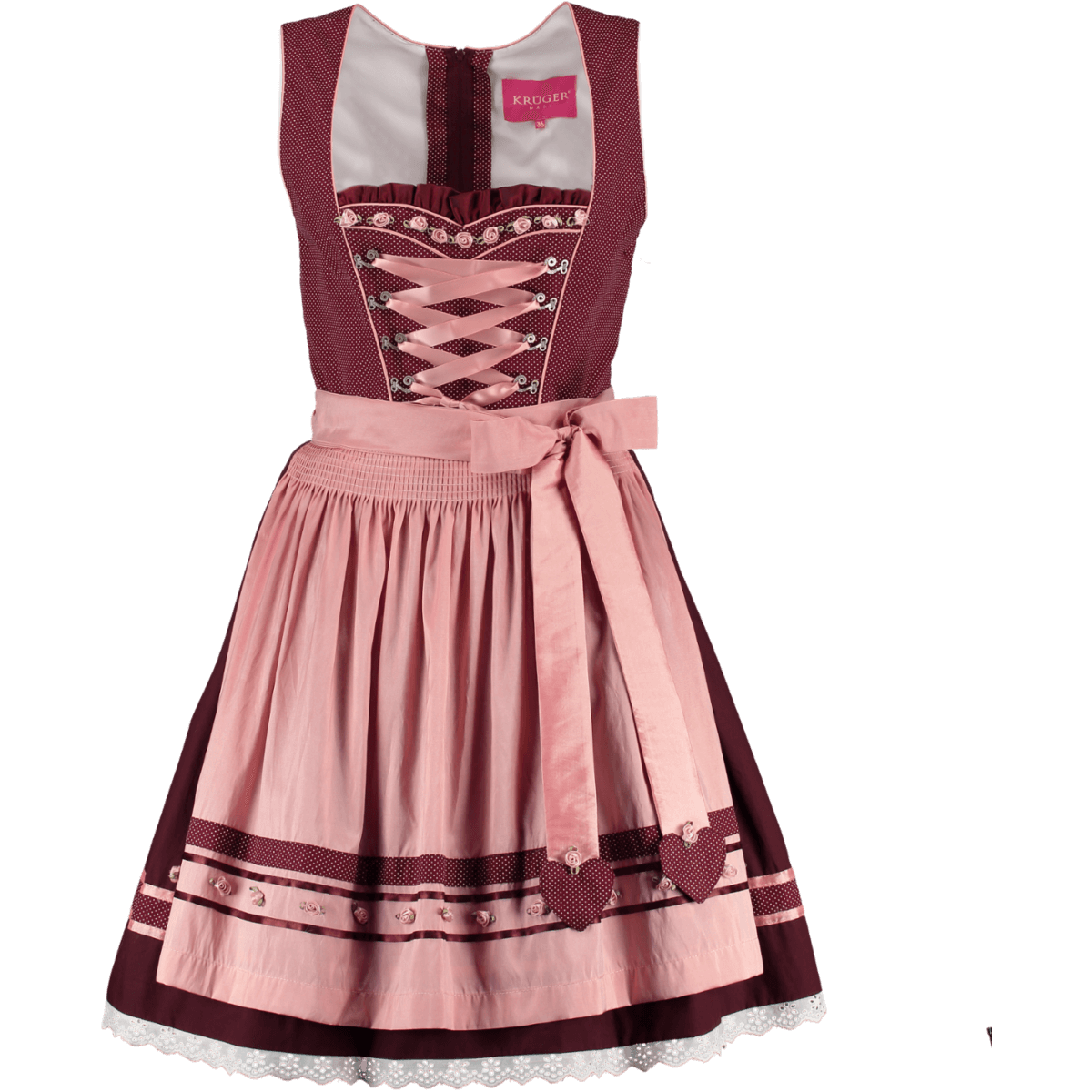 kr ger madl mini dirndl shiner bordeaux rosa g nstig kaufen. Black Bedroom Furniture Sets. Home Design Ideas