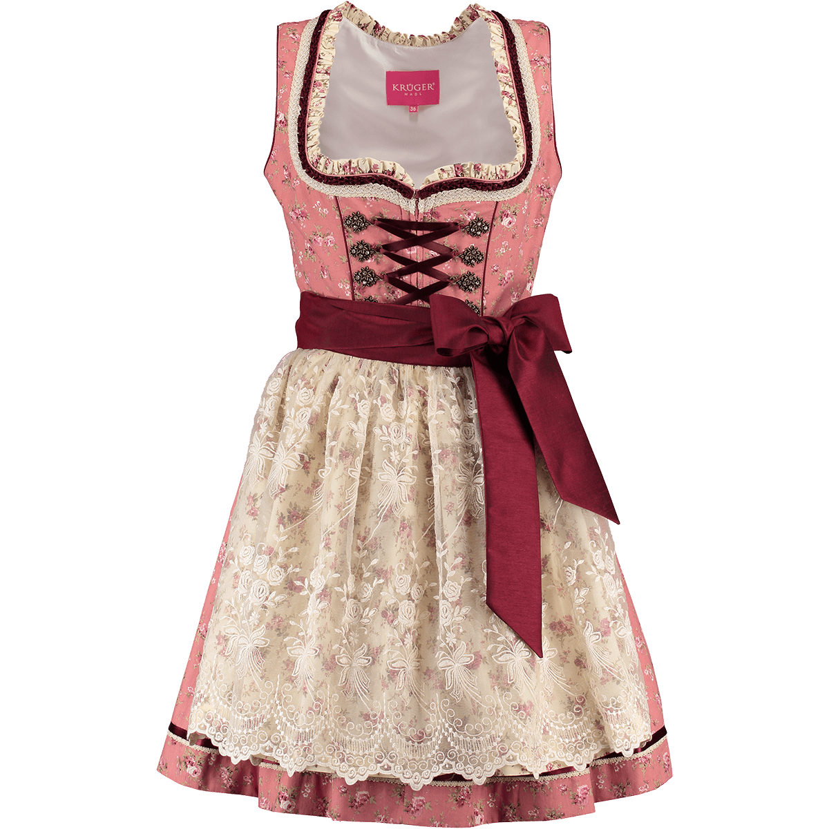 kr ger dirndl mini dirndl valencia rosa creme g nstig kaufen. Black Bedroom Furniture Sets. Home Design Ideas
