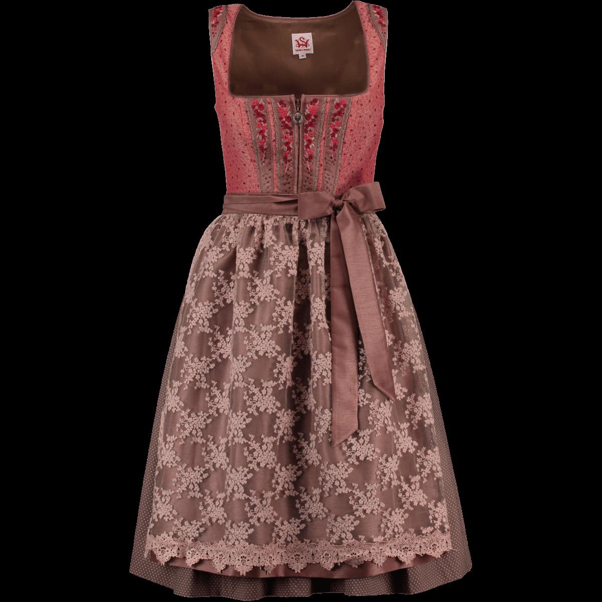 Spieth   Wensky Mini Dirndl Hibiskus rot  hasel   Alm-Fashion c42e075ab6